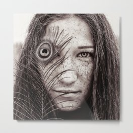 woman portrait with peacock feather Metal Print