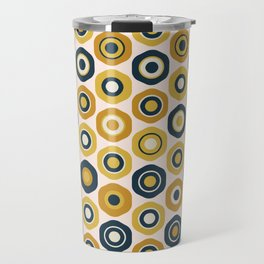 Buttons. Cute Geometric Pattern in Mustard Yellows, Navy Blue, and Blush Pink Travel Mug