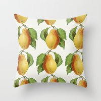 pear Throw Pillows featuring Pear by Grace