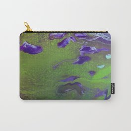 Fluid Art Acrylic Painting, Pour 12, Green, Purple, & Light Blue Blended Colors Carry-All Pouch