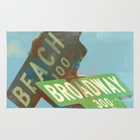 broadway Area & Throw Rugs featuring Beach N' Broadway by Limezinnias Design