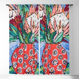 Protea Bouquet in Red Bulb vase on Ultramarine Blue Floral Still Life Painting Blackout Curtain
