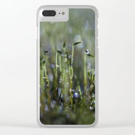 dewy moss sprouts Clear iPhone Case