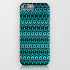 Abstract Pattern Dividers 07 in Turquoise Black iPhone 6s Slim Case