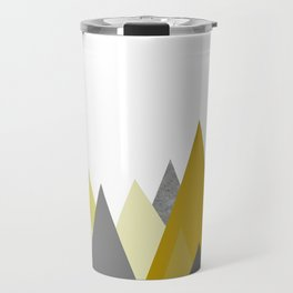 Mountains Mustard yellow Gray Neutral Geometric Travel Mug