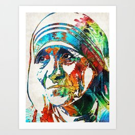 Mother Teresa Tribute by Sharon Cummings Art Print