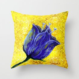 purple tulip on yellow with swirls and dots Throw Pillow