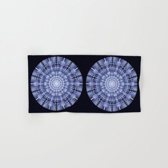 Grunge blue snowflake in a circle Hand & Bath Towel