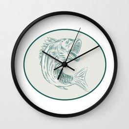 Largemouth Bass Fish Oval Etching Wall Clock
