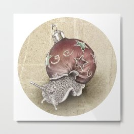 In which a snail is most festive this christmas  Metal Print