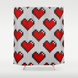 Knitted heart pattern - white Shower Curtain