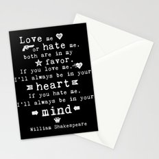 philosophy Shakespeare quote about love and hate Stationery Cards