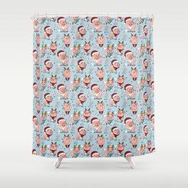 pigs celebrate new year Shower Curtain
