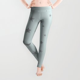 Grey moon and star pattern on baby blue background Leggings