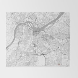 Louisville Map Line Throw Blanket