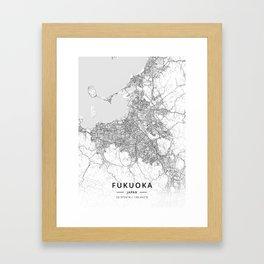 Fukuoka, Japan - Light Map Framed Art Print