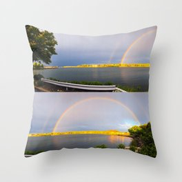Double Rainbow on E Street Throw Pillow