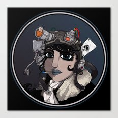 Sci-Fi Flying Ace Girl. Canvas Print