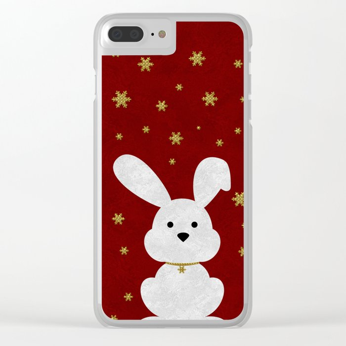 Christmas Bunny Red Marble Clear iPhone Case