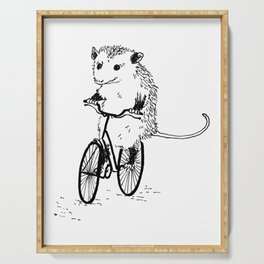 Opossums bike, too Serving Tray