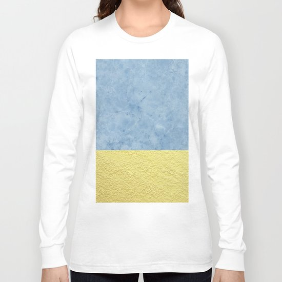 Royal blue and gold marble Long Sleeve T-shirt