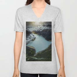 Hidden lake in Austrian Alps Unisex V-Neck