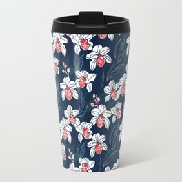 Orchid garden in white and peach on navy blue Travel Mug