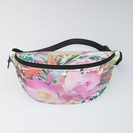 Tropical floral leaves and flamingos stripes Fanny Pack