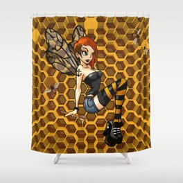 Pinup Honey Bee Shower Curtain