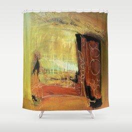 Window to the World - Mixed Media Metallic Acrylic Abstract Modern Art, 2012 Shower Curtain