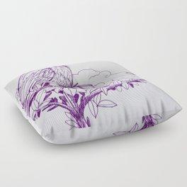 Purple Ink Bird Floor Pillow