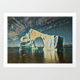 Disko Bay Free Interpretation Of Rough Canvas Used Years Art Print