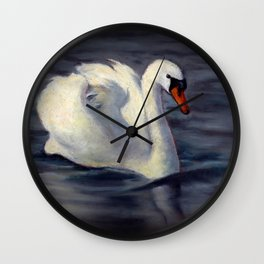 Swan Swimming in Sunshine, Oil Pastel Painting Wall Clock