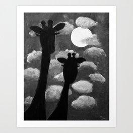 Giraffes at Nightfall - Black & White Version Art Print