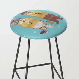 A GIRL WITH CAT and OTTER wide Bar Stool