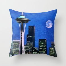 Blue Seattle Space Needle Throw Pillow
