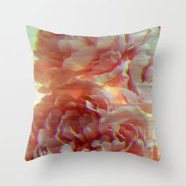 Glitching Peonies Throw Pillow