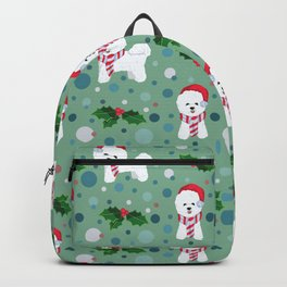 Bichon Frise dog Christmas pattern Backpack