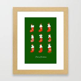 Merry Christmas animal Stockings Framed Art Print