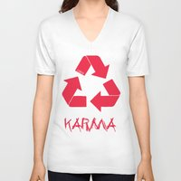 karma V-neck T-shirts featuring KARMA by ARTITECTURE