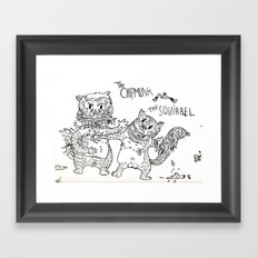 Squirrel vs Chipmunk Framed Art Print