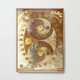 Lunar Phases Celestial Map in Gold Metal Print