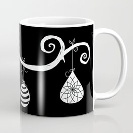 Burtonesque Branch with Ornaments 1 / White on Black Coffee Mug