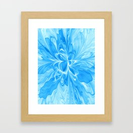 Blue Jeans Colors And White, Abstract Fractal Art Framed Art Print