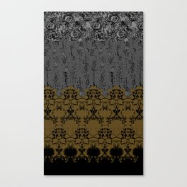 Damask Texture Border in Browns and Black Canvas Print