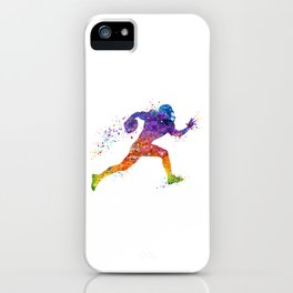 American Football Player Sports Art Colorful Watercolor Art Gift Football Player Gift Sports Decor iPhone Case