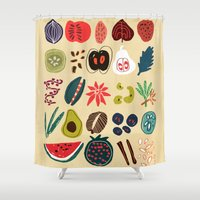 spice Shower Curtains featuring Fruit and Spice Rack by Picomodi