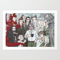 hobbit Art Prints featuring Hobbit Party by enerjax