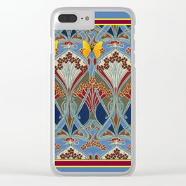 Grey-Burgundy Color & Yellow Art Nouveau Butterfly Design Clear iPhone Case