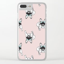 Blush pink Frenchies Clear iPhone Case